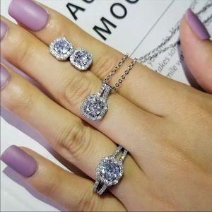 {3pcs} bridal ring necklace earring set